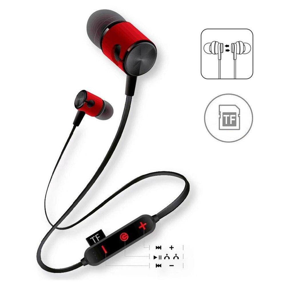 2019 Nieuwe Tf Card Oortelefoon Bluetooth Headsets Met Microfoon Sport Metalen Magneet In Ear Headset Hand Gratis Draadloze Oordopjes Voor Running Verkwikkende Bloedcirculatie En Stoppen Van Pijn