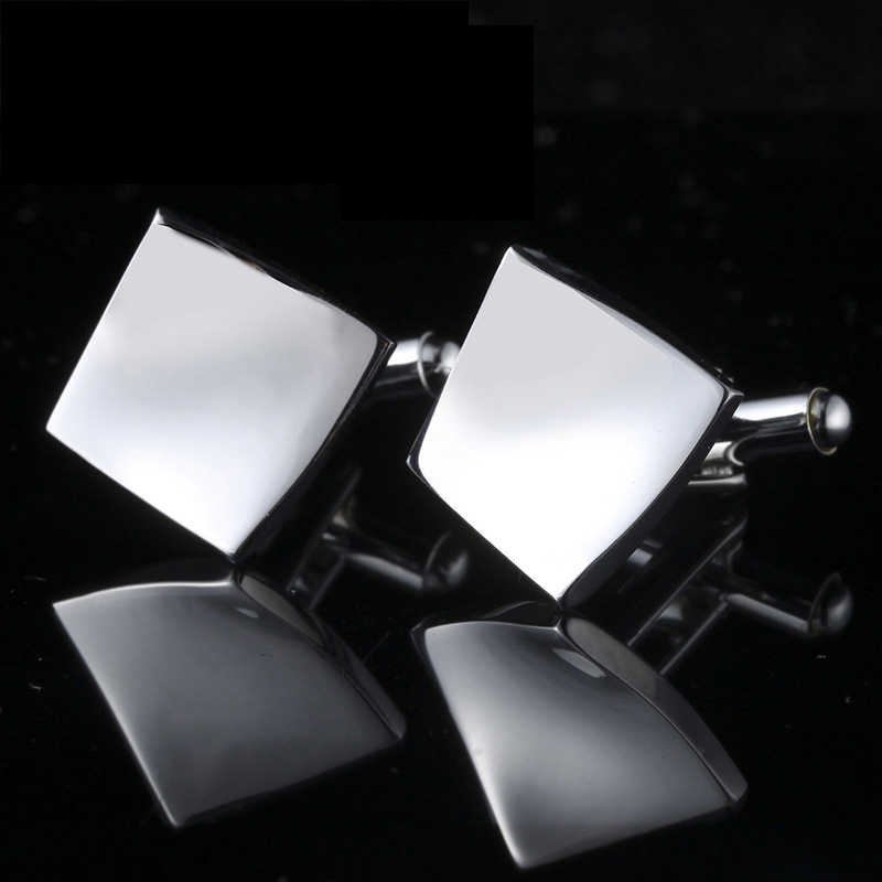 1 Pair New Simple Style Black Rectangle Cufflinks Mens Shirt Cuff Button Christmas Gifts for Men Silver Plated Cuff link