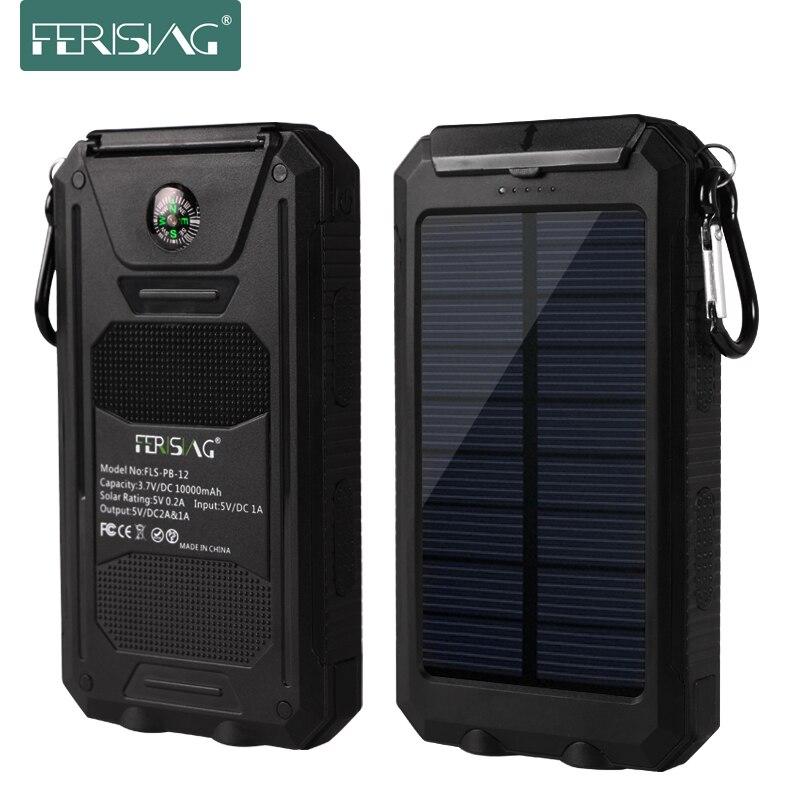 Ferising real 10000 mah banco de la energía solar a prueba de agua luz de la lám