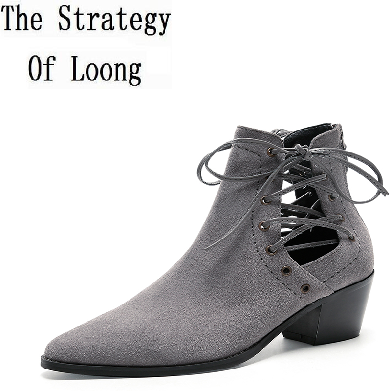 2017 New Lace Up Cow Leather Spring Autumn Ankle Boots Women Pure Color Pointed Toe Zip Breathable Thin Heel Short Boot ZY170917 цены онлайн