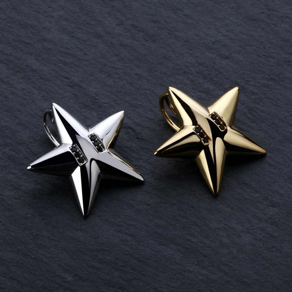 Solidny spersonalizowany naszyjnik z pięcioramienną gwiazdą naszyjnik mężczyzna/kobieta Hip Hop/Punk złoty kolor srebrny piękna biżuteria