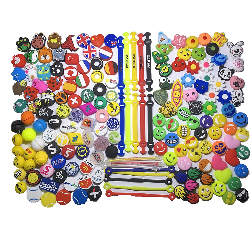 Free Shipping (100 Pcs/lot )All Kinds Of Tennis Racket Vibration Damper Cartoon/brand Shock Dampener