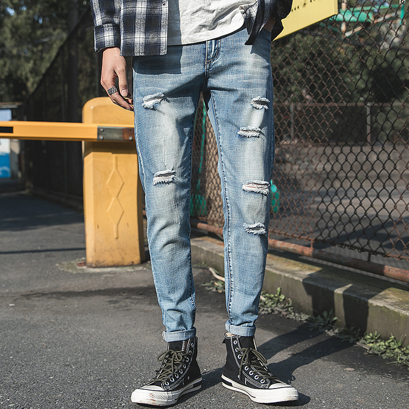 2019 spring long casual men's pencil pants hole breathable cotton jeans stretch jeans jeans hole pants jeans stretch tights
