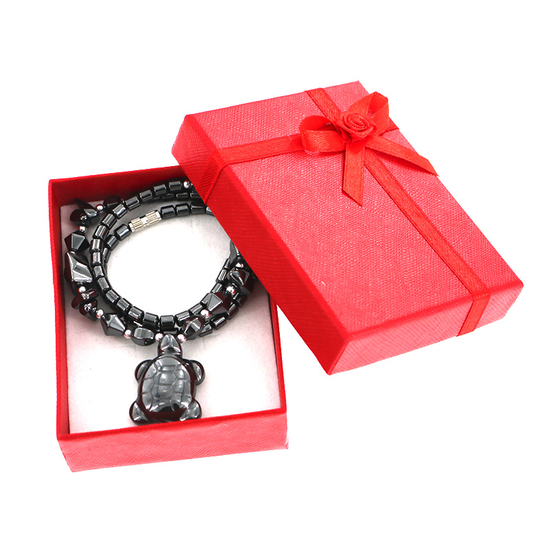 New Fashion Black Onyx Tortoise Necklace with Gift Box Women Animales Natural Stone Pendant Necklaces Girls Gift Jewelry