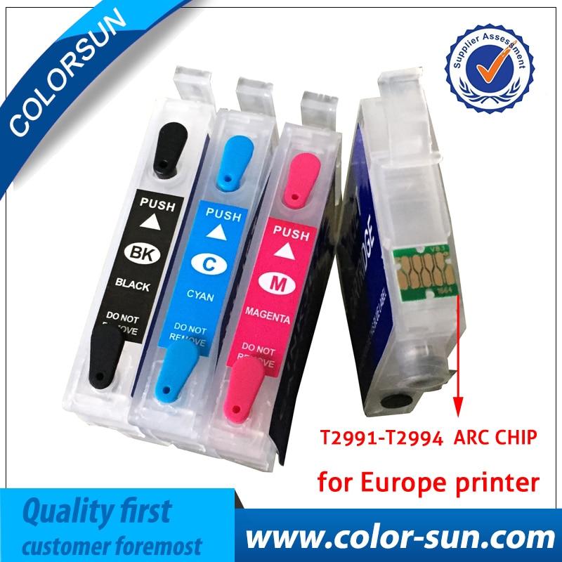 4PC T2991 29 29XL T2994 Plnitelné inkoustové kazety pro Epson XP342 XP345 XP445 XP445 xp-445 xp-345 xp-342 s čipy s automatickým vynulováním