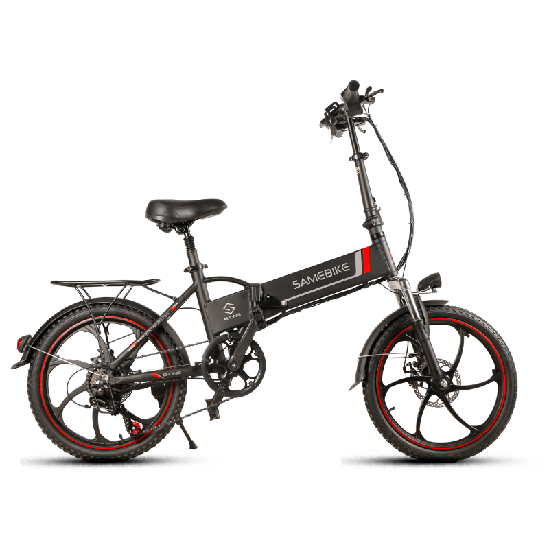 "Samebike 20"" Aluminum Alloy Foldable Electric Bicycle 48V 8Ah Intelligent LCD Display Remote Control Anti-theft Alarm Bike"