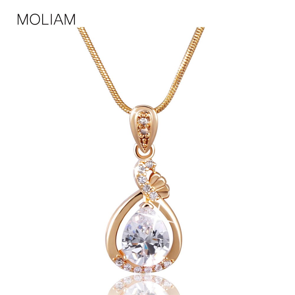 MOLIAM Fashion Women Necklace Gold-Color Slide Pendants Jewelry with Chain Gros Collier Femme 2016 MLP005, MLP006