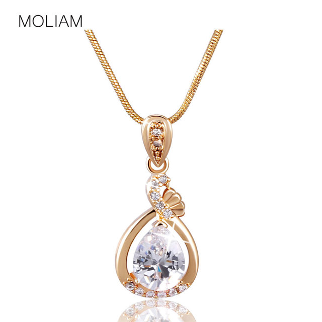 MOLIAM Fashion Women Necklace Gold-Color Slide Pendants Jewelry with Chain Gros Collier Femme 2016 MLP005,MLP006