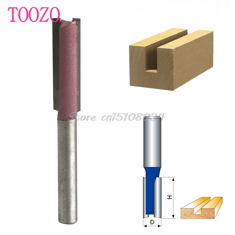 1/4 Shank 3/8 Blade Woodworking Double Flutes Straight Router Bit Cutter #S018Y# High Quality high grade carbide alloy 1 2 shank 2 1 4 dia bottom cleaning router bit woodworking milling cutter for mdf wood 55mm mayitr