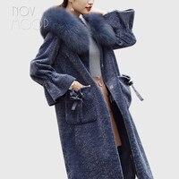 Зимние теплые женские синие джинсовые натуральной овечьей шерсти Дубленки пальто натуральным лисьим мехом с капюшоном Длинная Верхняя оде