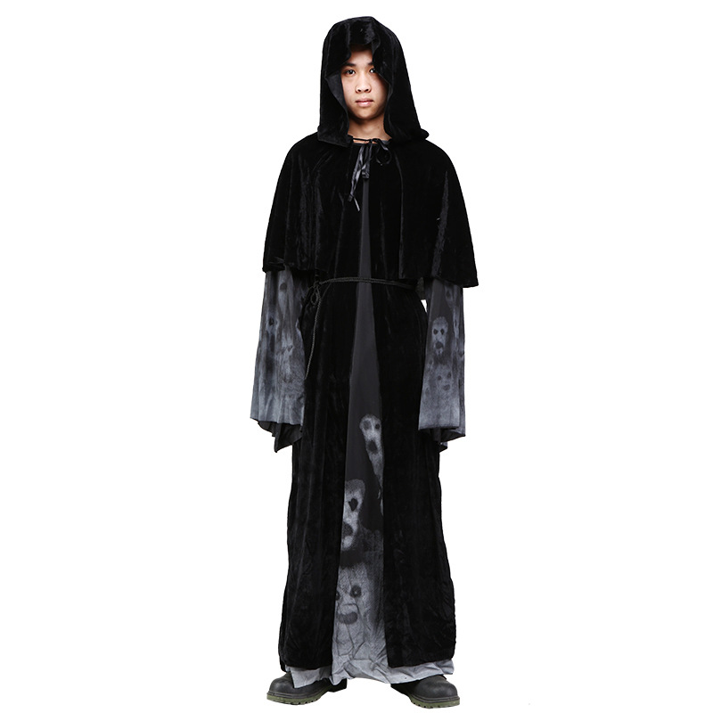 Men's Gothic Vampire Costumes Europe Wizard Bleach Costume Halloween Carnival Death Bleach Party Cosplay Costume