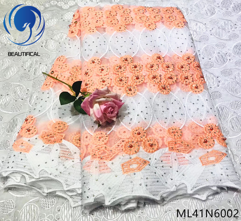 Beautifical nigerian lace fabrics with beads 2019 New design french lace fabric for wedding 5yards embroidery net lace ML41N60Beautifical nigerian lace fabrics with beads 2019 New design french lace fabric for wedding 5yards embroidery net lace ML41N60