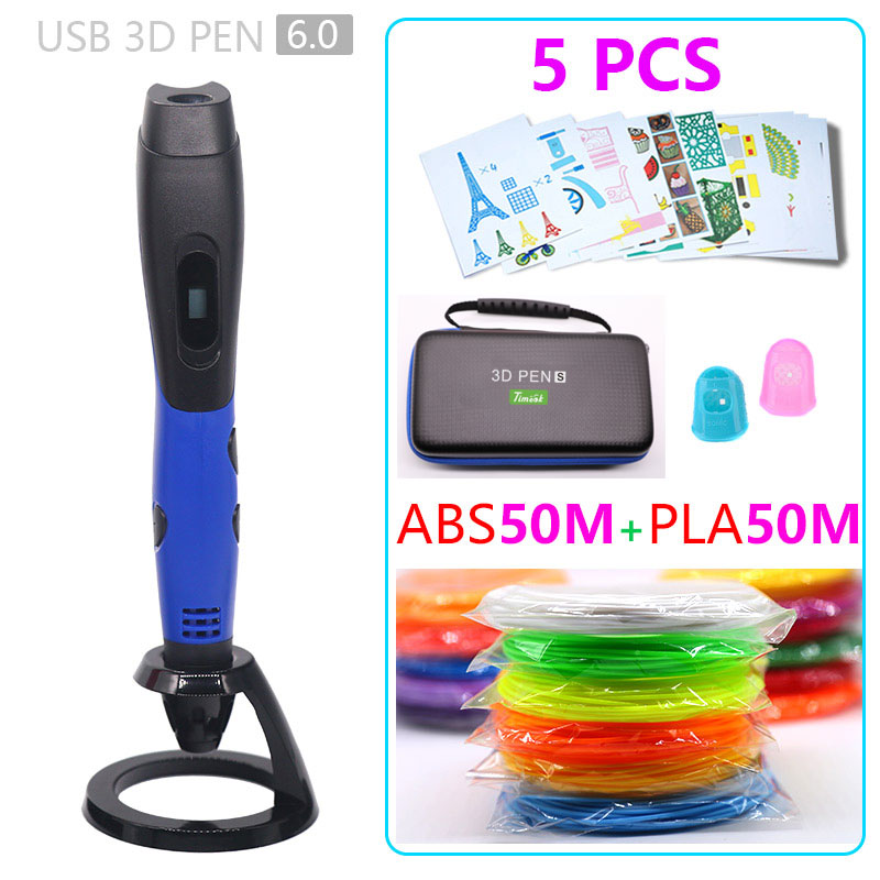 New version 3d pen 3d printer pen USB power supply is safe and convenient abs50+pla50m Child Birthday present christmas gift
