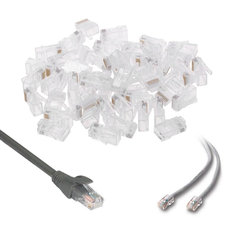 30pcs 10P10C RJ45 RJ48 RJ50 Cat5E UTP Ethernet Connector Network