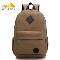 2015 Vintage Men Canvas Backpack Fashion School Satchel Bags Casual Outdoor Travel Rucksack Shoulder Bags Bolsas