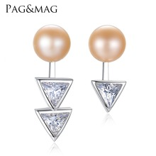PAG&MAG 7-7.5mm Natural Freshwater Pearl Triangular Geometry Style 925 Silver Earrings Party Women Jewlery Factory Wholesale