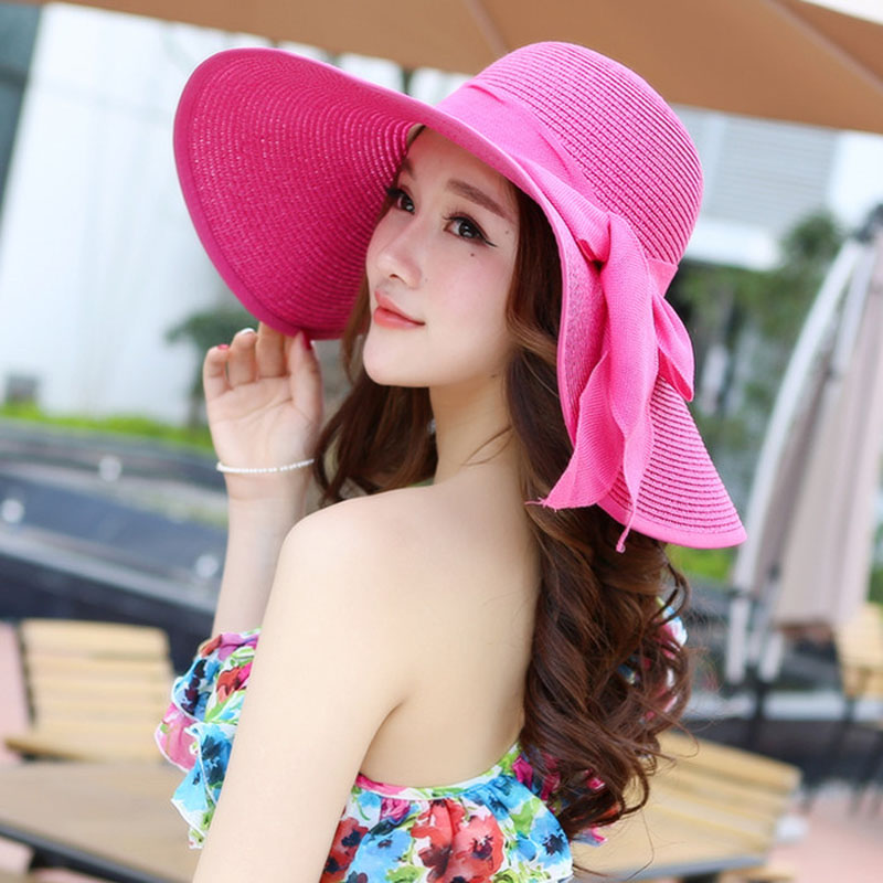 a4cad10e 2018 New Summer large brim beach sun hat for women UV protection Female cap  with big head foldable style fashion lady's sun cap-in Sun Hats from  Apparel ...