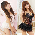 Sexy Vestido Babydoll Lingerie Sleepwear Sem Encosto Conjunto de Lingerie de Renda + G-string
