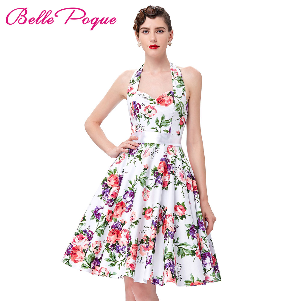 Belle Poque 50 s 60 s Rockabilly Robes Imprimé floral Robe Rétro Vintage Audrey Hepburn Sexy Partie Robe Pinup Swing robes 2018