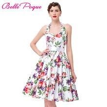 Belle Poque 50s 60s Rockabilly Dresses Floral Print Robe Retro Vintage Audrey Hepburn Sexy Party Dress