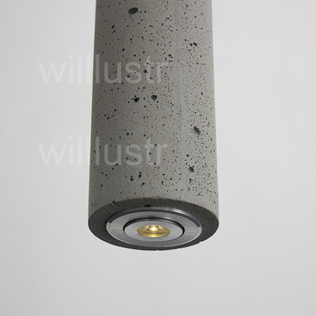 Willlustr Cement Pendant Light LED Gray Concrete Suspension Lamp Minimalist Design Lighting Hanging Lamp Dinning Room Restaurant