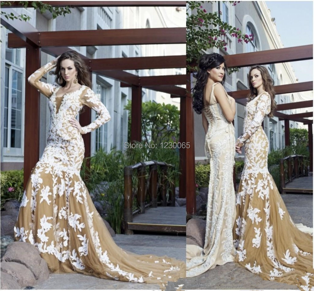 Vestido De Festa Long Arab Long Sleeves Champagne Tulle White Lace Appliques Formal Evening Gown Mother Of The Bride Dresses