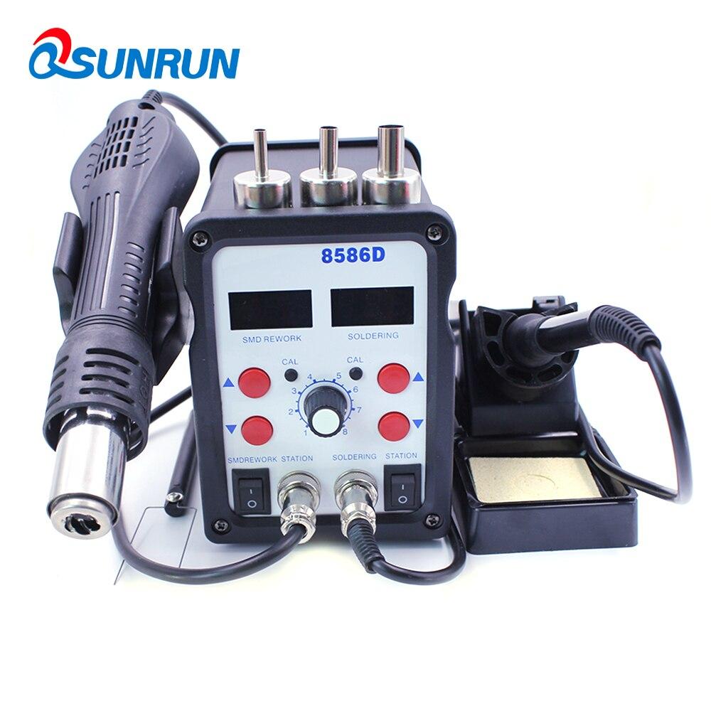 QSUNRUN 700 W 220 V 8586D 2 en 1 pistolet à air chaud et fer à souder station de dessoudage dormante automatique avec double affichage numérique