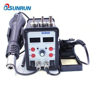 Image 1 - QSUNRUN 700W 220V 8586D 2 W 1 Hot wiatrówka i lutownica automatyczna stacja rozlutownicy z podwójnym wyświetlaczem cyfrowym