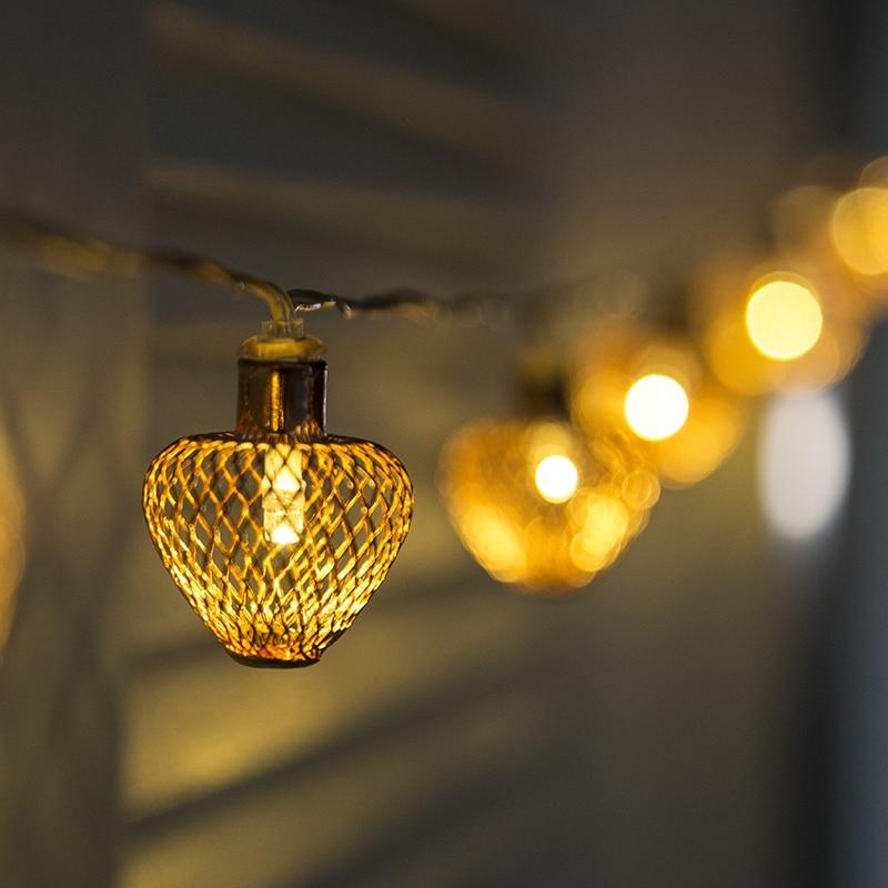 Lantern Ramadan Light polygonal Lantern Decoration Metal Lantern Light Battery Fairy Light Led Christmas Xmas Warm Lighting