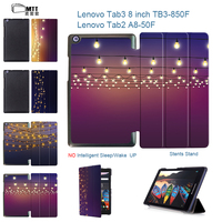 MTT Halo Lights PU Leather Cover Stand Case For Lenovo Tab 3 TAB3 8 850 850F