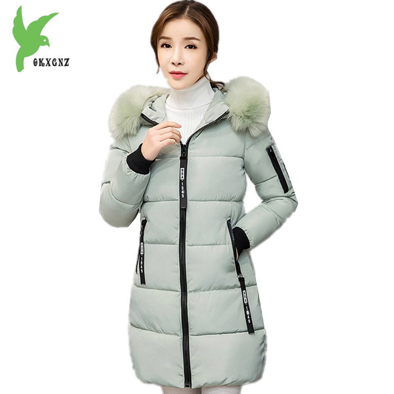 New Women's Cotton Jackets Winter Fashion Solid Color Hooded Casual Tops Thick Warm Fur Collar Plus Size Slim Coats OKXGNZ A794 new winter women cotton jackets solid color hooded long coat plus size fur collar thicker warm slim casual outerwear okxgnz a795