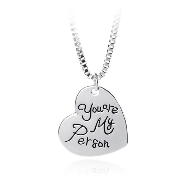 Grey\'s Anatomy You Are My Person Handstamp Heart Pendant Necklace ...