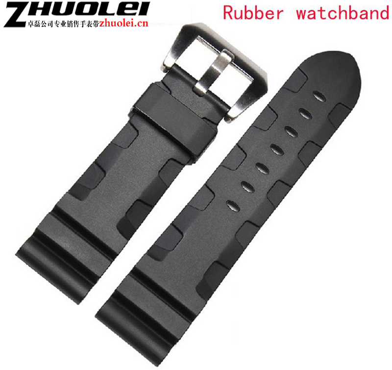 Watch Accessrioes 24mm 26mm New Mens Waterproof Diving Silicone Rubber Watchband Bands Straps Watch Solid pin stainless Buckle