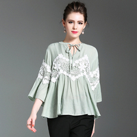 Women Loose Big Size Casual Flare Sleeves Ruffles Chiffon Bandage Blouse Vintage Floral Blusinhas Ladies Tops Plus Size 80F0151