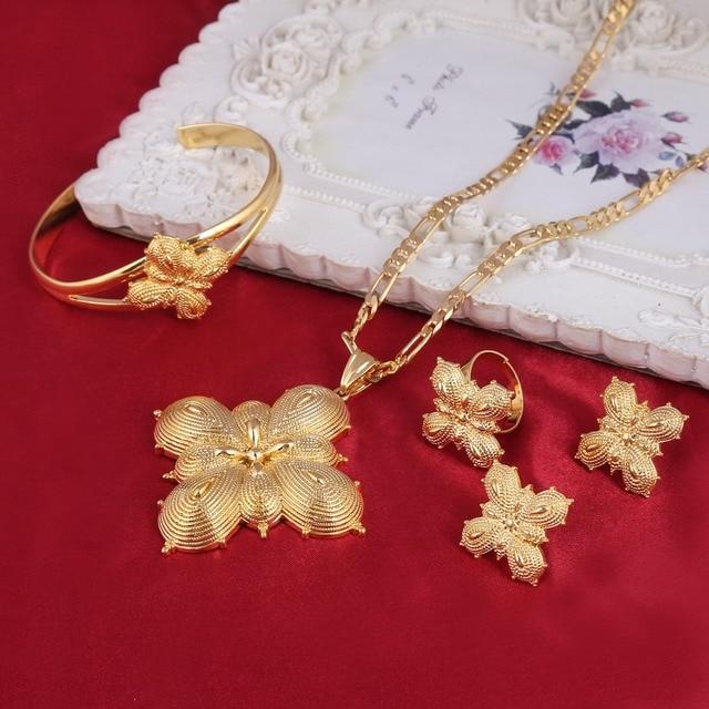 Ethiopian Bridal Jewelry Set Gold Color Habesha Ethiopia Wedding