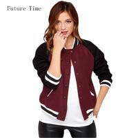 Slim Short Women Jacket Contrast Color Spliced College Baseball Jackets Long Sleeve Fashion Casual Autumn Basci