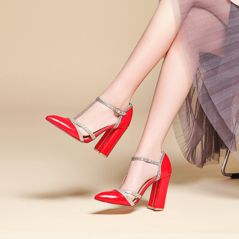 Summer Womens High Heels T-Strap Block Heel Shoes Wedding Pumps Ladies Pointed Toe Shoes Nude Black Red Yellow Silver White Gold