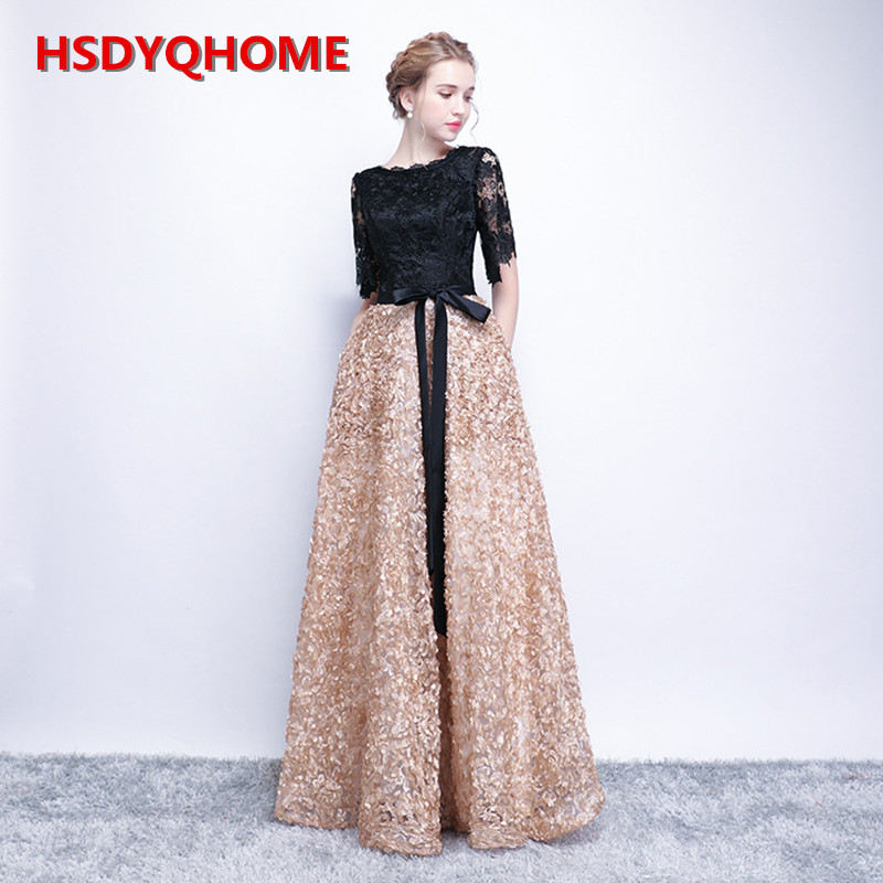 HSDYQ HOME New Lace Evening Prom Dresses Floor-Length Vestidos Amazing Long Prom Dresses Sexy Party Gown