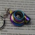 Creative Spinning New Charming Rainbow Color Turbo Turbocharger Keychain Key Chain Ring Keyring Keyfob
