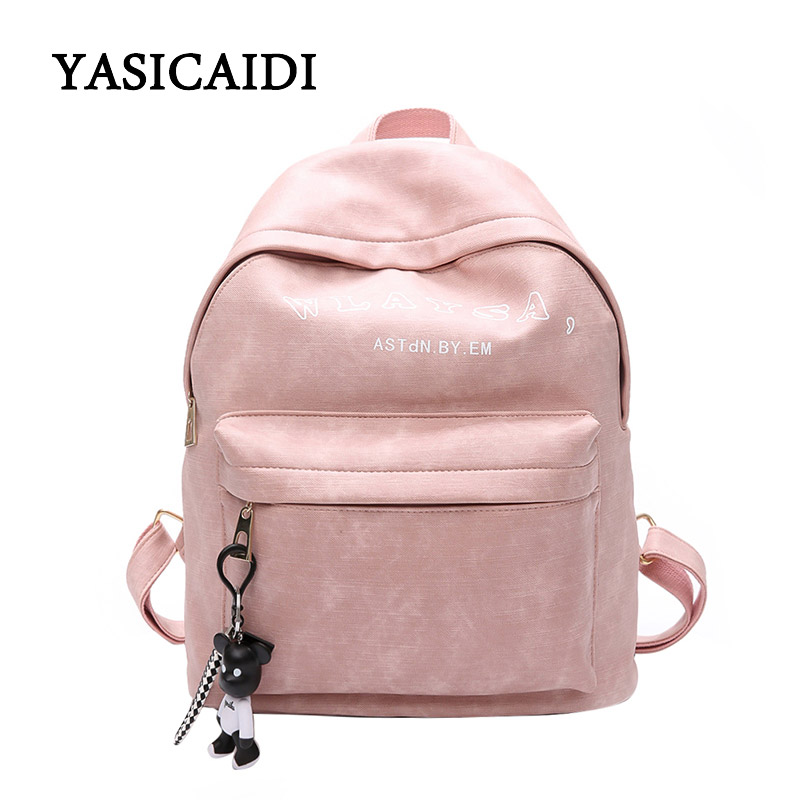 Woman Backpack School Bags For Girls Pu Leather Bag Female Back Pack For School Fashion Solid Feminina Mochila Ribbons Daypack