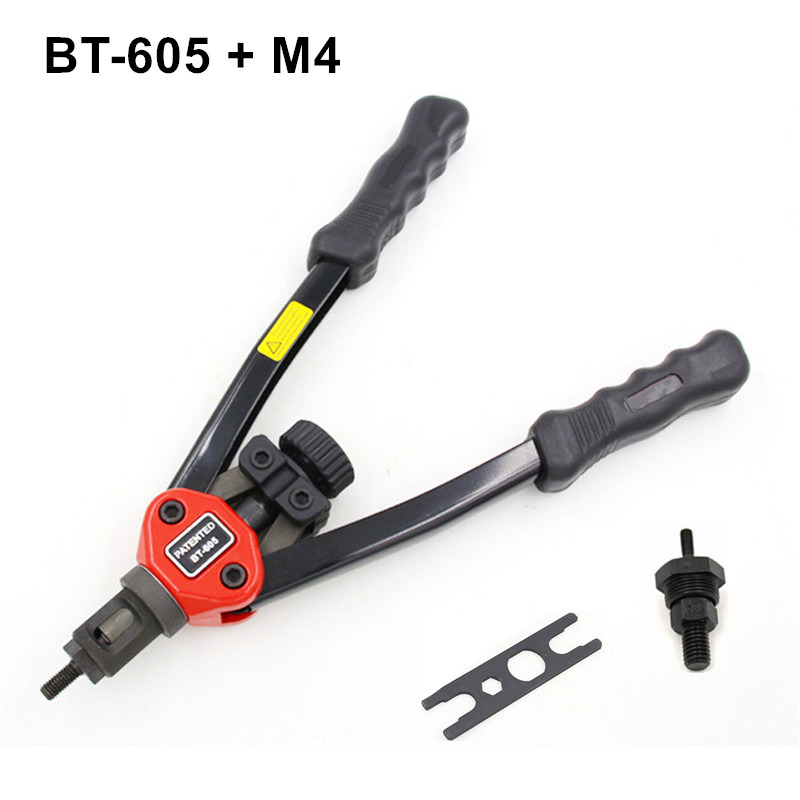 free shipping manual rivet gun hand riveter pull rivet nut riveting tools with one die of M4 BT-605 carton package high quality 440mm 17 inch hand riveter pull rivet nut riveting tools with one die of m3 free shipping bt 604 auto remove nut
