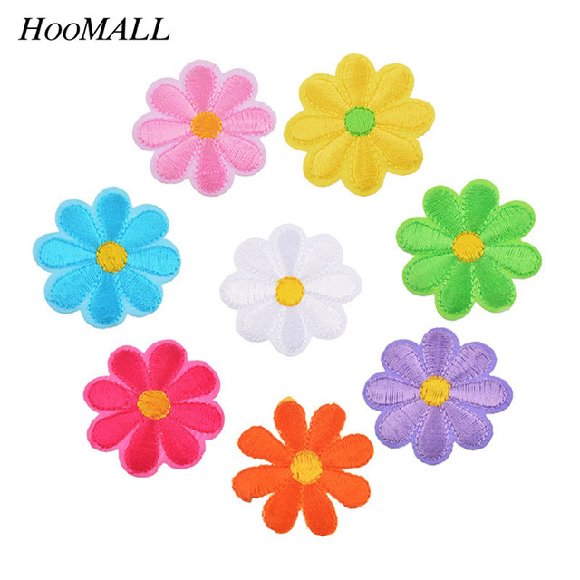 Hoomall 5PCs Embroidered Flower Appliques Patches Iron On Decorative Patch For Clothing Sewing Accessories 3.7cm