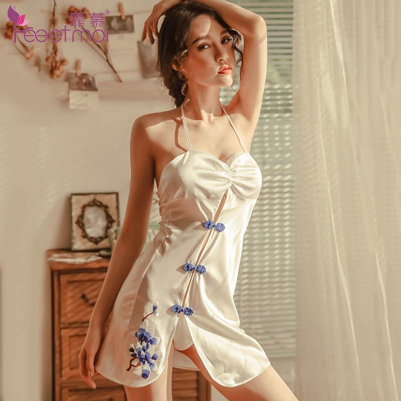 Cheongsam Hot Babydoll Lingerie Sexy Porno Halter Classical Erotic Woman Buckle Folk-Custom
