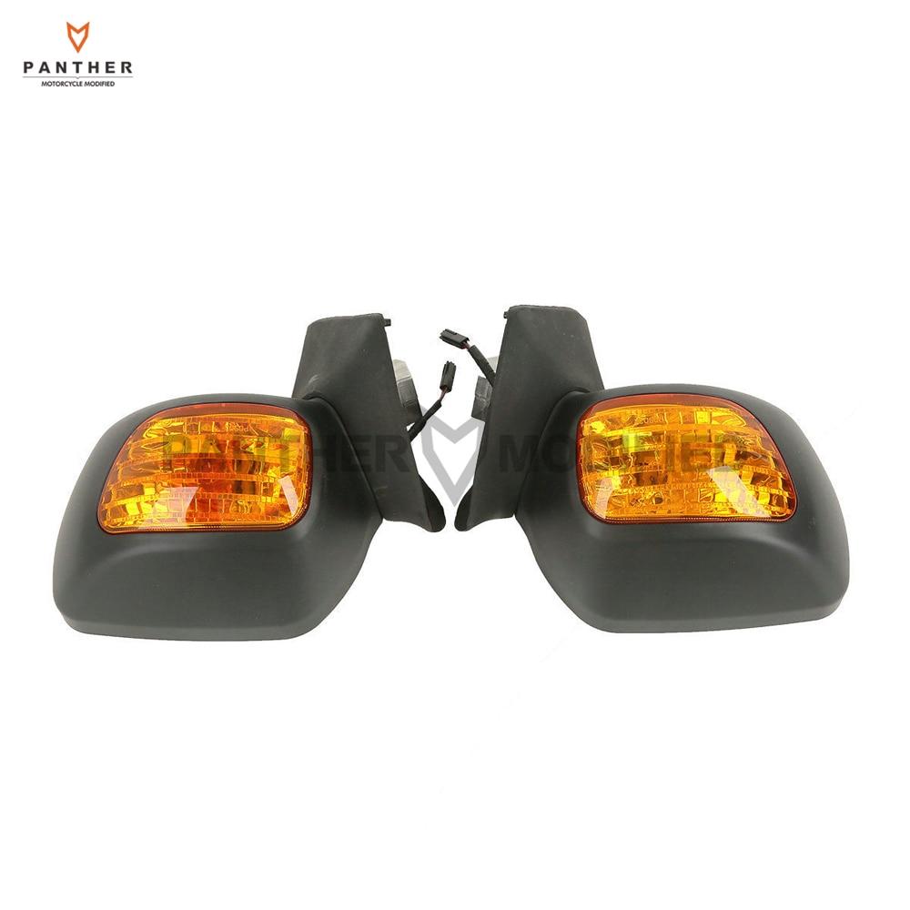 Matte Black Motorcycle Rear View Mirror Turn Signal Light