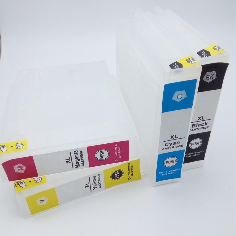 INK WAY T9071 - T9074 T9081 - T9084 Refillable Ink Cartridge For Ep WF-6590 WF6590 WF-6090 WF6090 Printer With SINGLE USE Chip