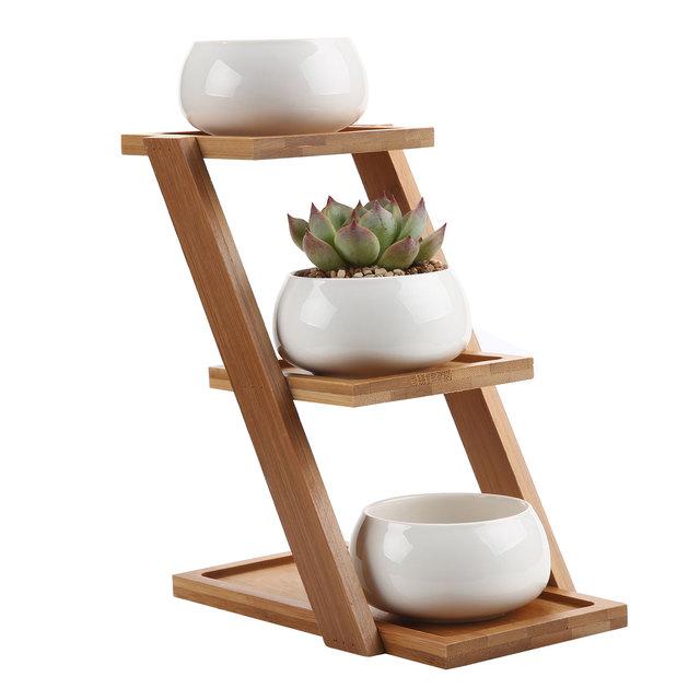 T4U succulent planter bamboo Plant Stand Shelf Holds 3 Flower Pot air Planters Holder Planters Stand with maceta bonsai pots