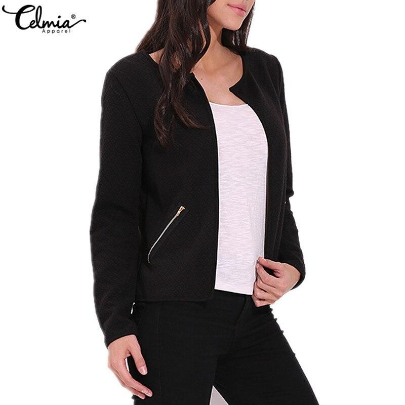 Celmia Cardigan Blazers 2018 Autumn Women Jacket Plaid Coat Casual Slim Suit Winter Blazer Feminino OL Office Outwear Plus Size