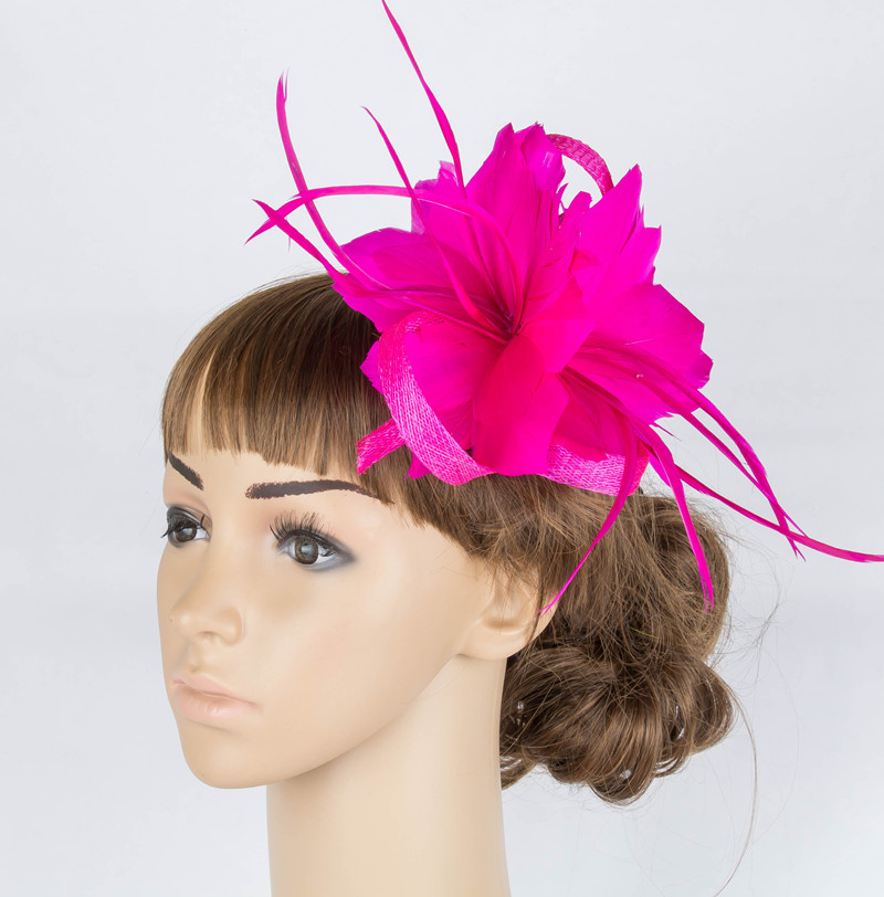 Perfct Color Sinamay Fascinator Headwear Feather Flower Colorful