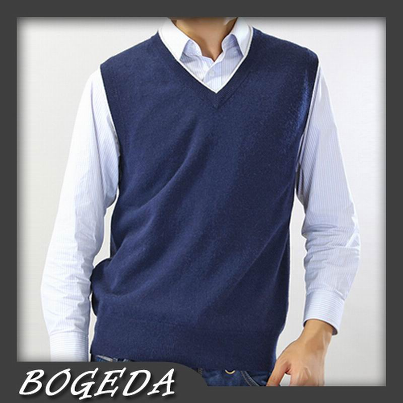 Pure Cashmere Sweater Men Vest V Neck Gray Business Vest Blue Natural Fabric High Quality Stock Clearance Free Shipping