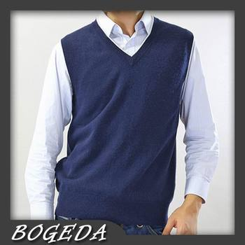 цена на Pure Cashmere sweater Men Vest V neck Gray Business Vest Blue Natural Fabric High Quality Stock Clearance Free Shipping